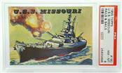 1955 TOPPS U.S.S. MISSOURI RAILS & SAILS #190 PSA RATED NM-MT 8